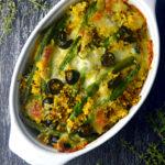 Zapiekanka z kaszy jaglanej z curry, fasolką i oliwkami