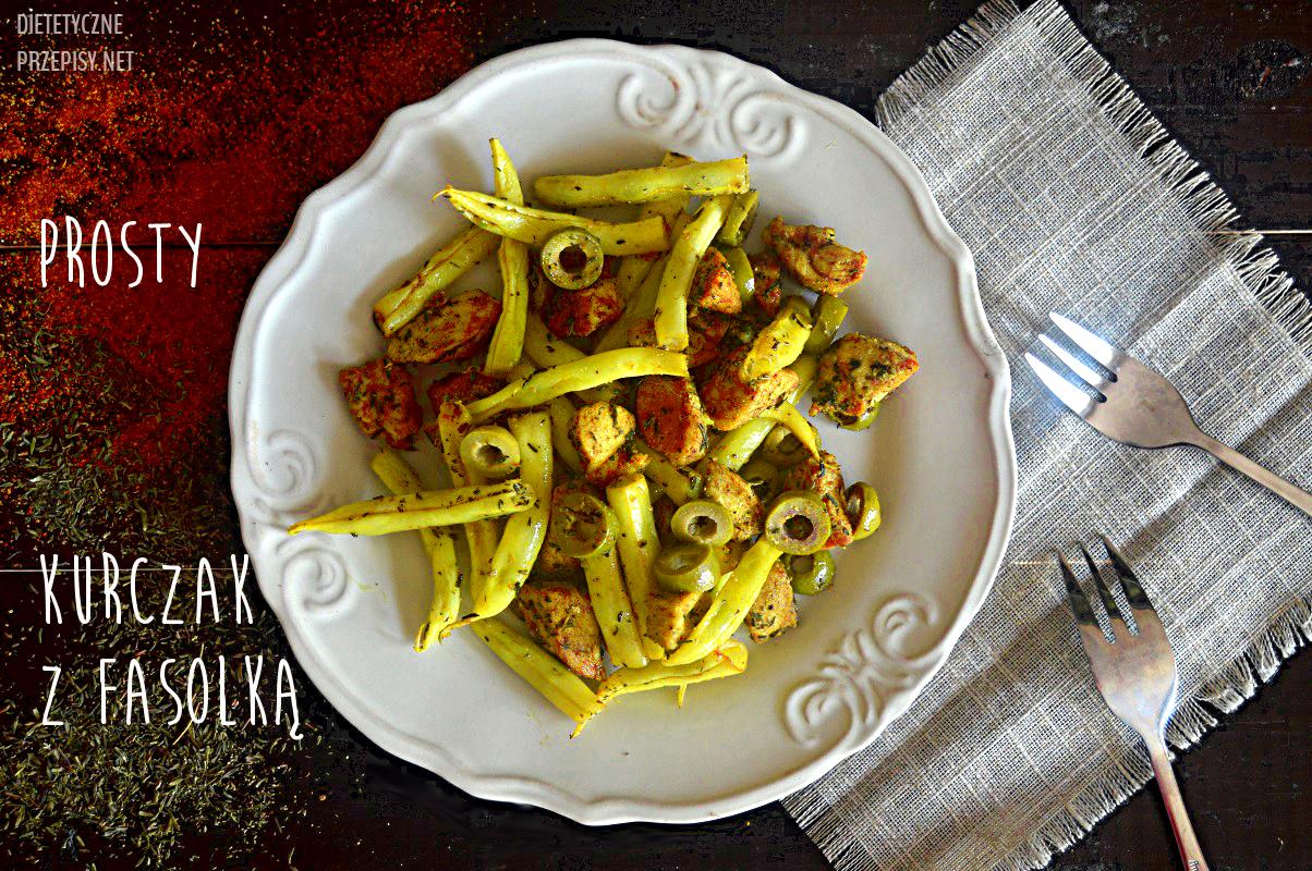 super prosty kurczak z fasolką szparagową i oliwkami